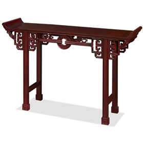 48 Inch Dark Cherry Rosewood Coin Design Altar Table