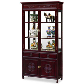 Dark Cherry Rosewood Longevity Design China Cabinet