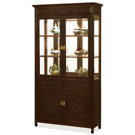 Dark Cherry Rosewood Prosperity Dragon Design China Cabinet