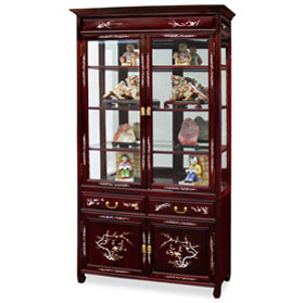 Dark Cherry Rosewood Mother of Pearl Inlaid China Cabinet