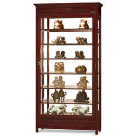 Dark Cherry Rosewood Chinese Longevity Design Curio Cabinet