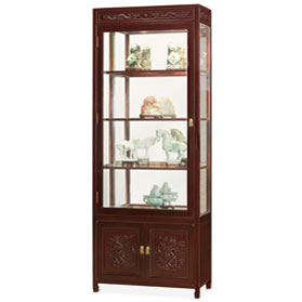 Dark Cherry Rosewood Prosperity Dragon Display Cabinet