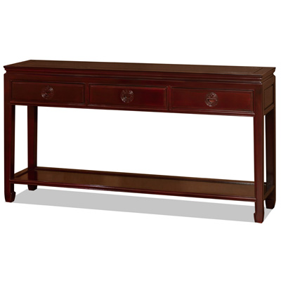 Dark Cherry Rosewood Longevity Console Table with Bottom Shelf