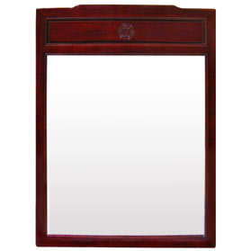 Dark Cherry Rosewood Longevity Asian Vertical Mirror