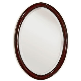 Dark Cherry Rosewood Chinese Ming Oval Mirror