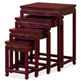 Dark Cherry Rosewood Chinese Key Motif Nesting Tables