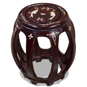 Dark Cherry Rosewood Mother of Pearl Inlay Round Stool