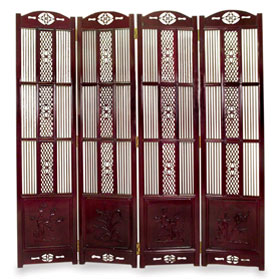 Dark Cherry Rosewood Four Season Intaglio Screen