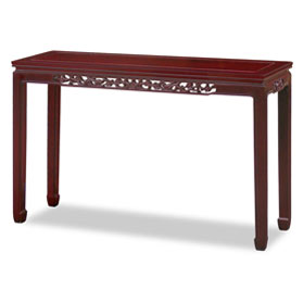 Dark Cherry Rosewood Flower and Bird Motif Console Table
