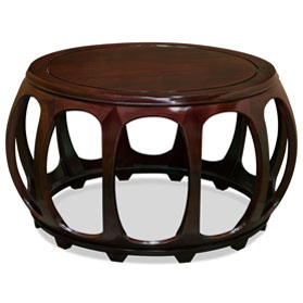 Mahogany Finish Rosewood Round Drum Tea Table
