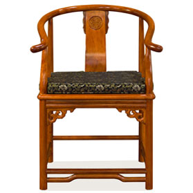 Natural Finish Rosewood Ming Style Chinese Arm Chair