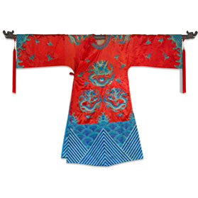 Vintage Red and Turquoise Imperial Dragon Robe