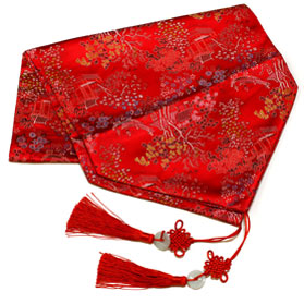 50 Inch Red Silk Chinese Courtyard Table Runner