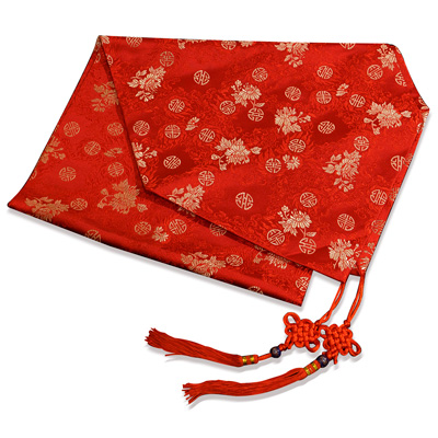 50 Inch Red Silk Floral Longevity Table Runner