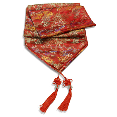 96 Inch Red Silk Chinese Courtyard Table Runner