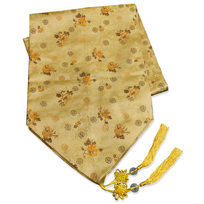 96 Inch Gold Silk Floral Chinese Longevity Table Runner