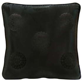 Black Chinese Silk Pillow (#14)