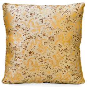 Gold Silk Chinese Dragon Pillow (#52)