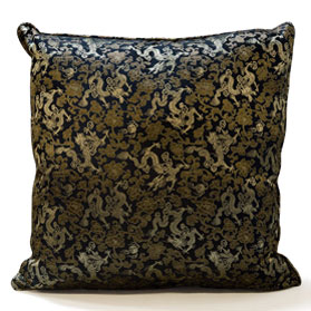 Black Silk Chinese Dragon Pillow (#79)