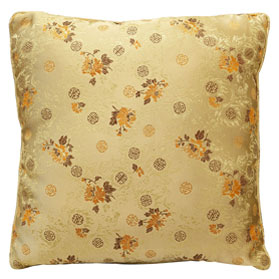 Gold Chinese Silk Pillow (#87)