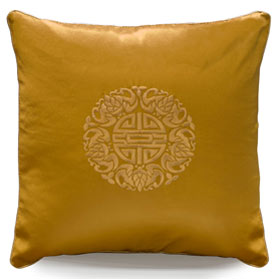 Golden Silk Chinese Longevity Pillow
