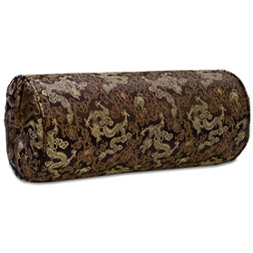 Brown Silk Chinese Dragon Bolster Pillow