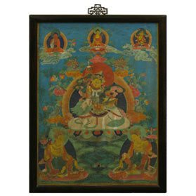Framed Tibetan Thangka Painting