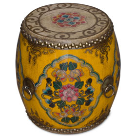 Orange Floral Ceremonial Tibetan Drum