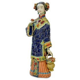 Chinese Porcelain Figurine, Lady with Flower Basket
