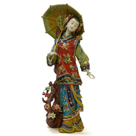 Chinese Porcelain Figurine, Lady Holding Umbrella