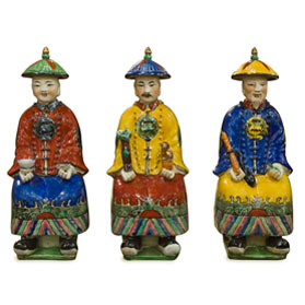 Chinese Porcelain Figurines, Sitting Qing Emperors Set