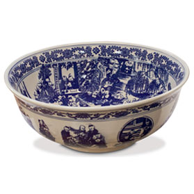 Blue and White Porcelain Schoolyard Scene Basin