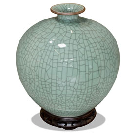Light Blue Crackle Porcelain Ming Vase
