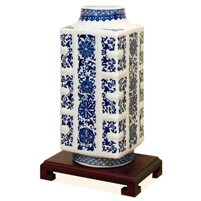 15.5 Inch Blue and White Porcelain Ming Vase