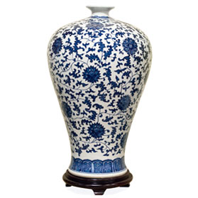 22 Inch Blue and White Porcelain Ming Vase