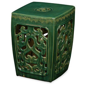 Green Porcelain Mythical Cloud Motif Garden Stool