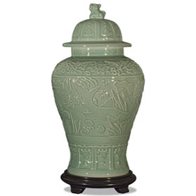Celadon Porcelain Qing Foo Dog Jar