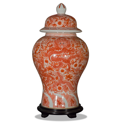 Red and White Porcelain Imperial Dragon Jar