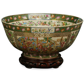 12 Inch Chinese Rose Medallion Porcelain Bowl