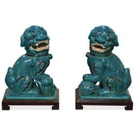 Blue Peking Temple Foo Dog Set