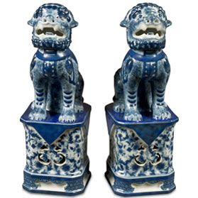 Blue and White Canton Porcelain Chinese Foo Dogs Set